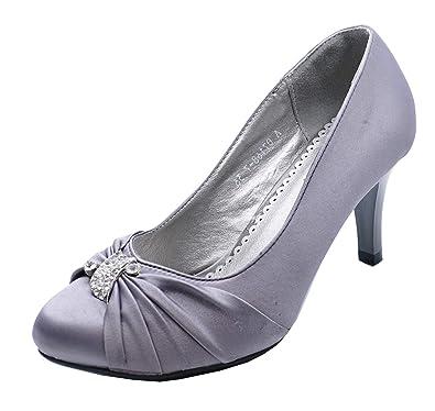 Ladies Navy Satin Diamante Wedge Bridal Prom Wedding Peep Toe Shoes Sizes