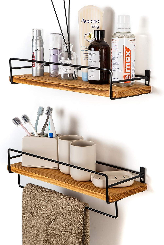 SODUKU Floating Shelves Wall Mounted, Wall Wood Storage Shelf for Kitchen Bathroom Bedroom Set of 2 Carbonized Black