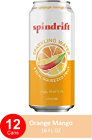 Spindrift Sparkling Water, Orange Mango Flavored, Made with Real Squeezed Fruit, 16 Fl Oz (Pack of 12)