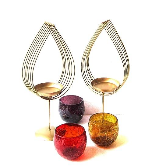 Jaipur Handicrafts - Juego de 2 portavelas para Velas de té ...