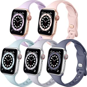 Muranne Slim Band Compatible with Apple Watch 40mm 38mm iWatch SE & Series 6 & Series 5 4 3 2 1 for Women Womens Men (Lavender Gray/Turquoise/Gray/Sand Pink/Blue Gray 38mm/40mm)