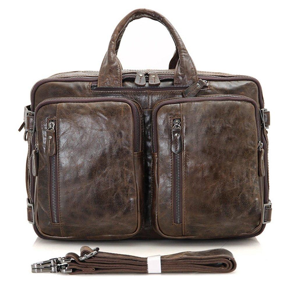 Leather Briefcase Netbook Shoulder Strap Messenger Messenger Bag Color : Dark Brown
