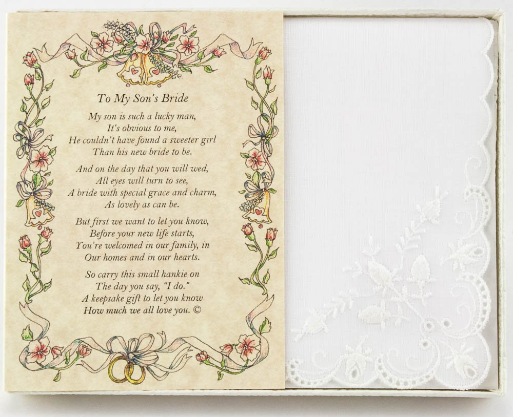 Wedding Handkerchief Poetry Hankie (Groom's Mother to Bride) White, Lace Embroidered Bridal Keepsake, Beautiful Poem | Long-Lasting Memento for The Bride | Includes Gift Storage Box