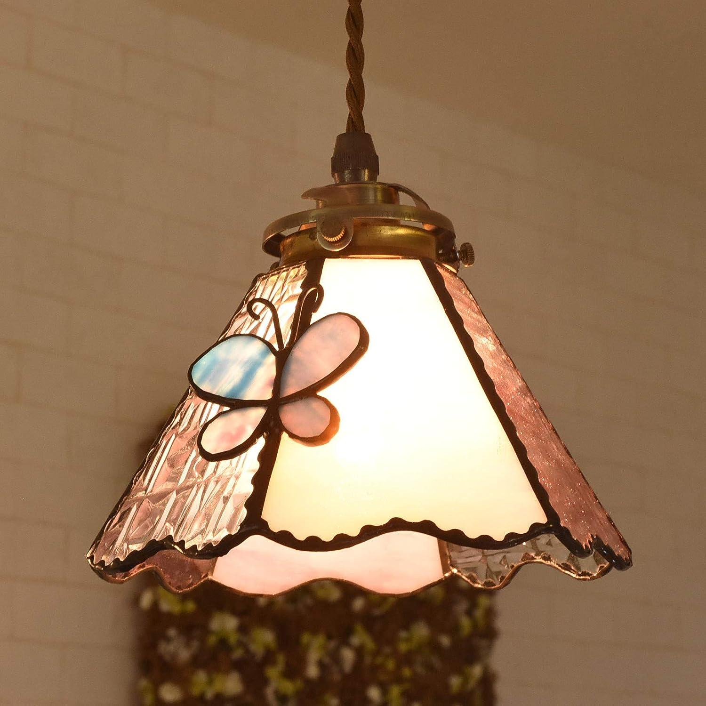 ペンダントライト レトロ ガラス ステンドグラス Papillon Bleu アンティーク風 LED対応 (ピンク) B07HYRP22C ピンク