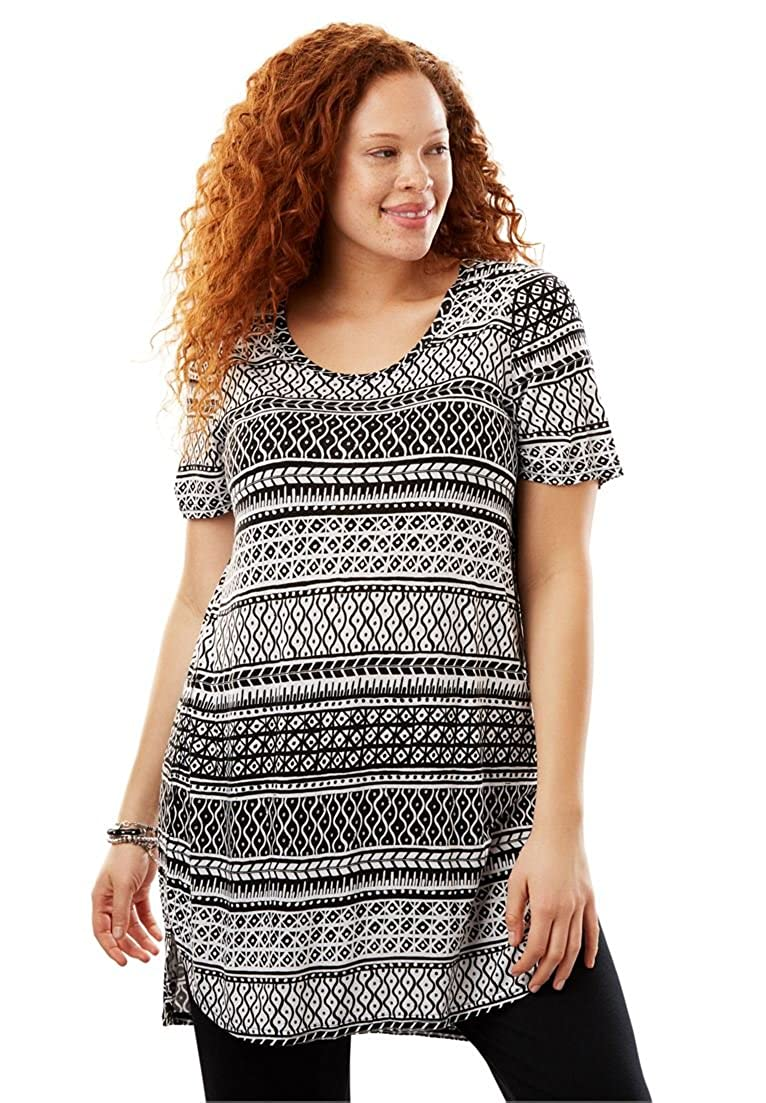 Woman Within Plus Size Short Sleeve Maxi Tunic