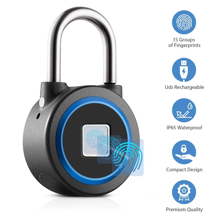 Fingerprint Padlock Thumbprint Bluetooth Lock USB Rechargeable IP65 Waterproof Ideal for Locker, Handbags, Golf Bags, Wardrobes, Gym, Door, Luggage, Suitcase, Backpack, Bike, Office (Blue)