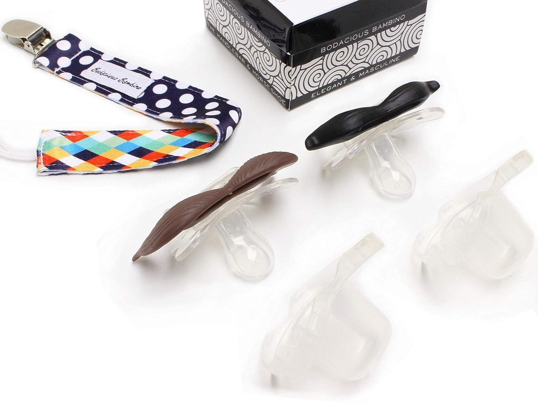 Cute /& Funny Pacifiers for Babies BPA-Free The Horseshoe /& Handlebar Mustache Pacifier 2-Pack with Pacifier Clip by Bodacious Bambino B.B