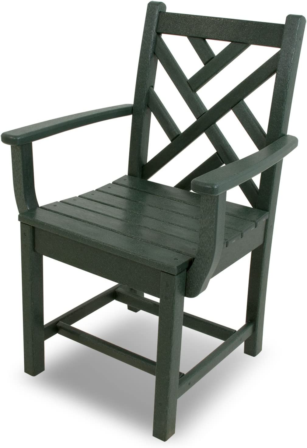 POLYWOOD CDD200GR Chippendale Dining Arm Chair, Green