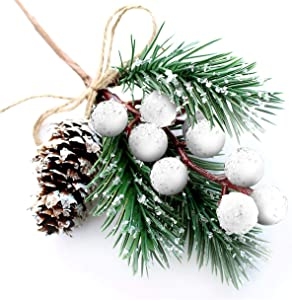 White Christmas Berries/Berry Stems Pine Branches & Artificial Pine Cones/White Holly Spray/Wreath Picks for Winter Décor, Holiday Crafts, Xmas Decorations/Decorative Pick