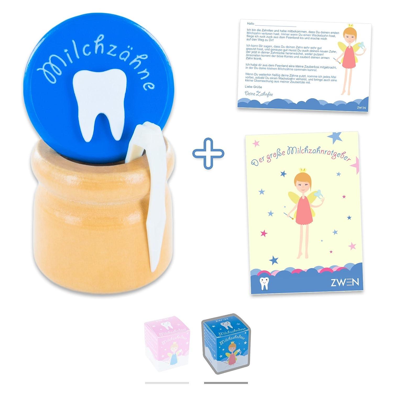 'zwen Boîte à dents de lait en bois avec fermeture à vis, avec pince et fée des dents de lettres | de E gratuit de'Der große à dents de lait de votre amoureux | Bleu pour garçon & Rose pour fille