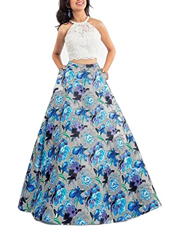 63c40807a1 Yiweir Women s Floral Two Piece Halter Prom Dresses 2018 Long Formal  Evening Gowns YF017 at Amazon Women s Clothing store