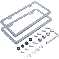 2 PCS L-Fine 2 Holes Aluminum Slim License Plate Frames (Silver)