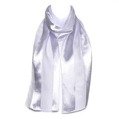 Filles Femmes écharpe en mousseline de satin foulard élégant uni blanc rayé  châle enveloppant c8e3e7d41eb