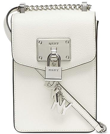 a39195244 Amazon.com: DKNY Elissa Pebble Leather Charm Chain Strap Crossbody (White)