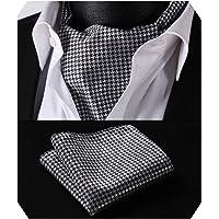 HISDERN Men's Cravat Self Ascot Tie Polka Dot Jacquard Woven Neckerchief Gift Cravat Tie and Pocket Square Set Wedding Scarf Ties for Men