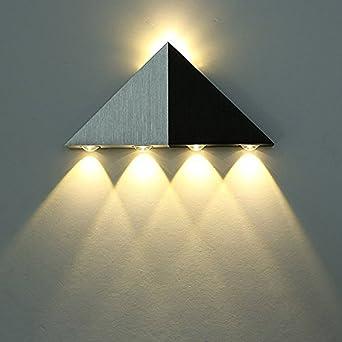 Asvert Apliques de Pared Escaleras Lámpara de Pared LED triángulo de aluminio arriba y abajo para Dormitorio, Pasillo, Sala de Estar, KTV (blanco cálido): Amazon.es: Iluminación