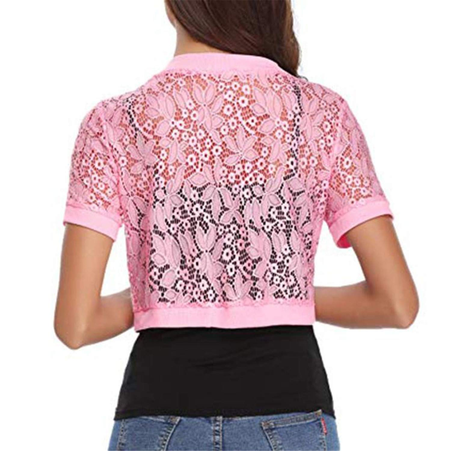 Womens Casual Solid Short Sleeve Floral Lace Shrug Open Front Bolero Cardigan Womens Tops and Blouses White XL