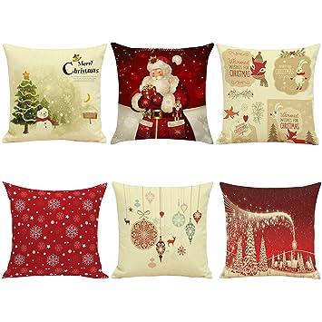 Hoomall Lot de 6 Housses de Coussin Decoration Noël Lit linge