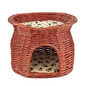 Cesta de mimbre de gato, dos pisos cama de gato compañía de dormir con cojín suave: Amazon.es: Hogar