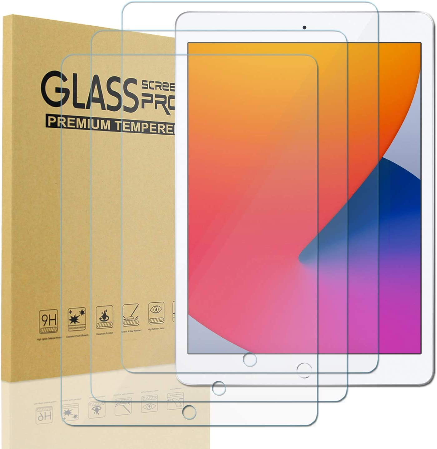 [3 Pack] KIQ Tempered Glass Screen Protector 9H Hardness 0.30mm, Scratch-Resist, Ultra-Clear, Anti-Scratch, Self-Adhere, Easy to Install, for Apple iPad Air 1st 2nd Pro 9.7 2016 5th 6th 2017 2018