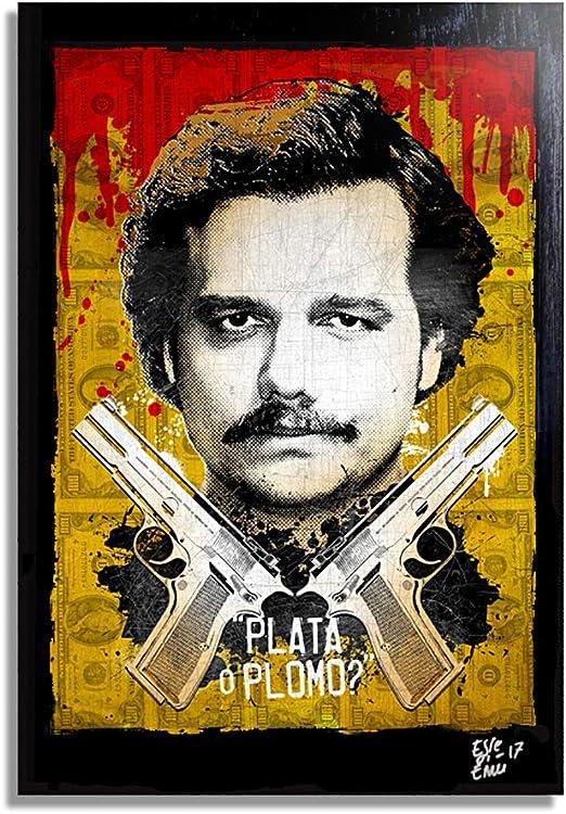 Pablo Escobar de la Serie televisiva Narcos - Pintura Enmarcado Original, Imagen Pop-Art, Impresión Póster, Impresion en Lienzo, Cuadro, Cómics, Cartel de la Película: Amazon.es: Hogar