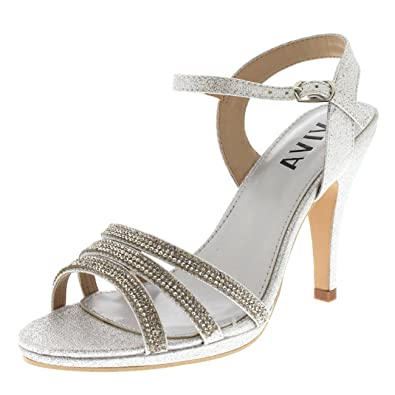 2ba39c7aafe6c5 Viva Womens Diamante Mid Heel Ankle Strap Wedding Party Evening Party  Sandals Shoes - Silver KL0306R