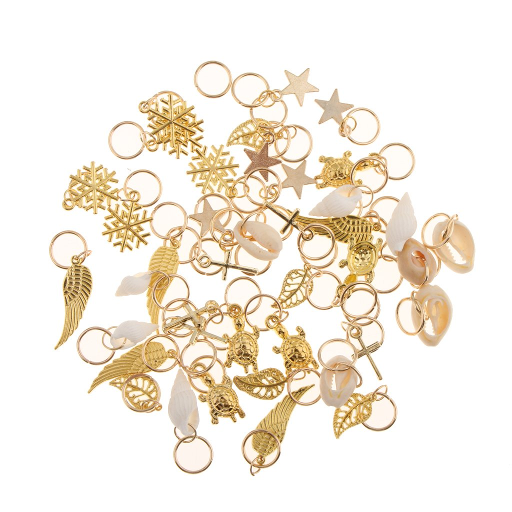 MonkeyJack 50pcs Tortoise Cross Shell Hair Ring Braid Rings Hair Pins Loops Hair Accessory Gold