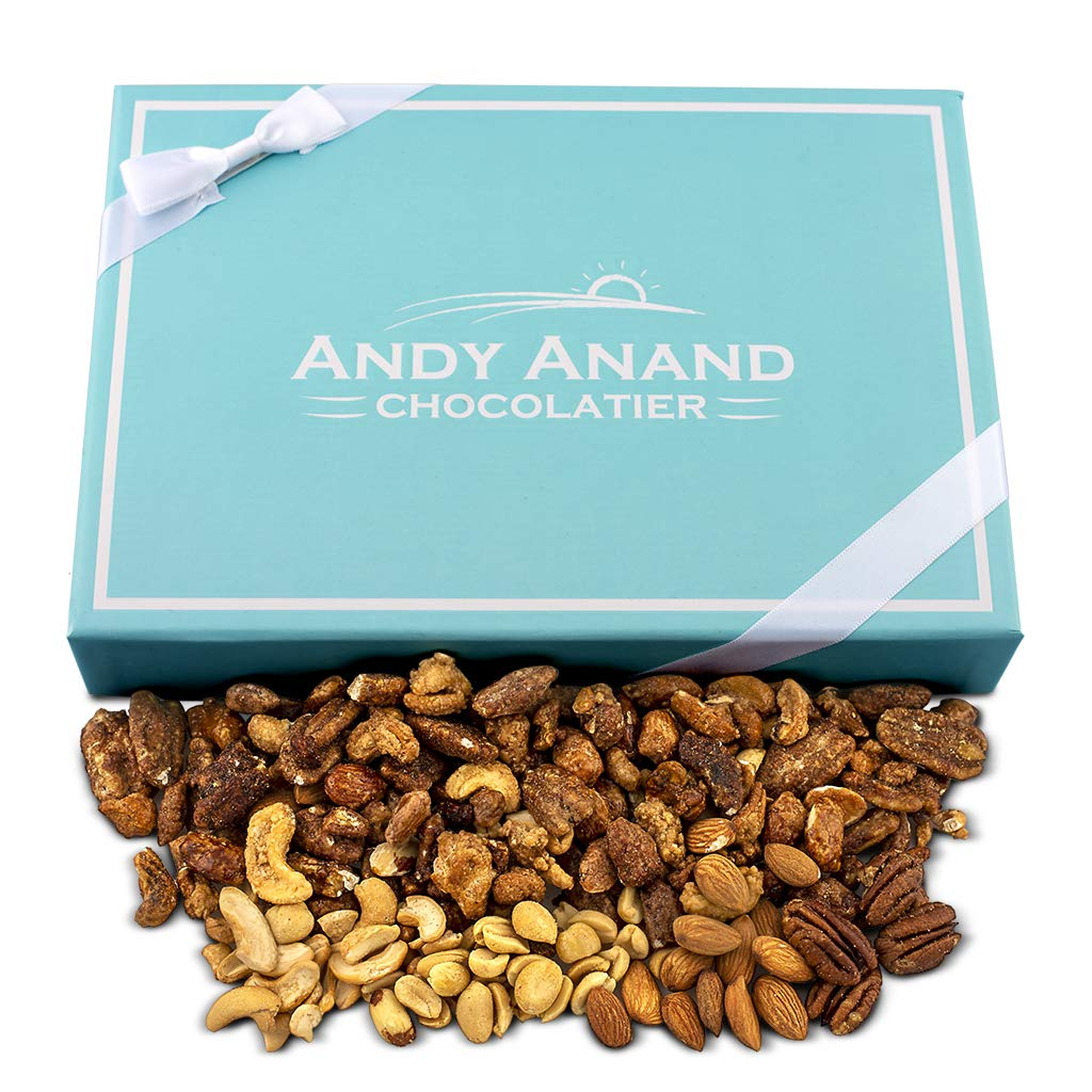 Andy Anand Roasted Butter Toffee Bridge of Pecans, Cashews, Almonds & Peanut, Fresh Shipped weekly to Amazon. Crunchy Delicious Gift Box Greeting Card Birthday Christmas Mothers day (2 LBS)