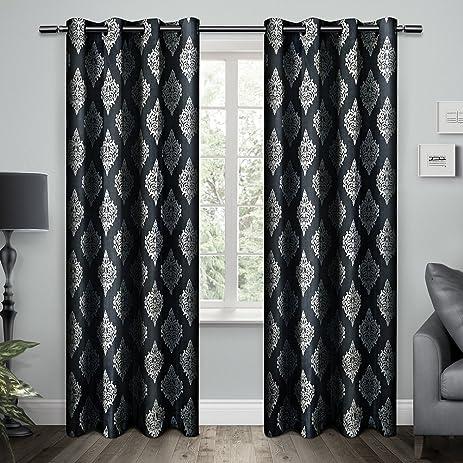 exclusive home curtains damask cotton grommet top window curtain panel pair indigo 54x96