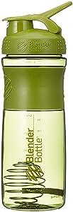 BlenderBottle SportMixer Tritan Grip Shaker Bottle, Moss Green, 28-Ounce