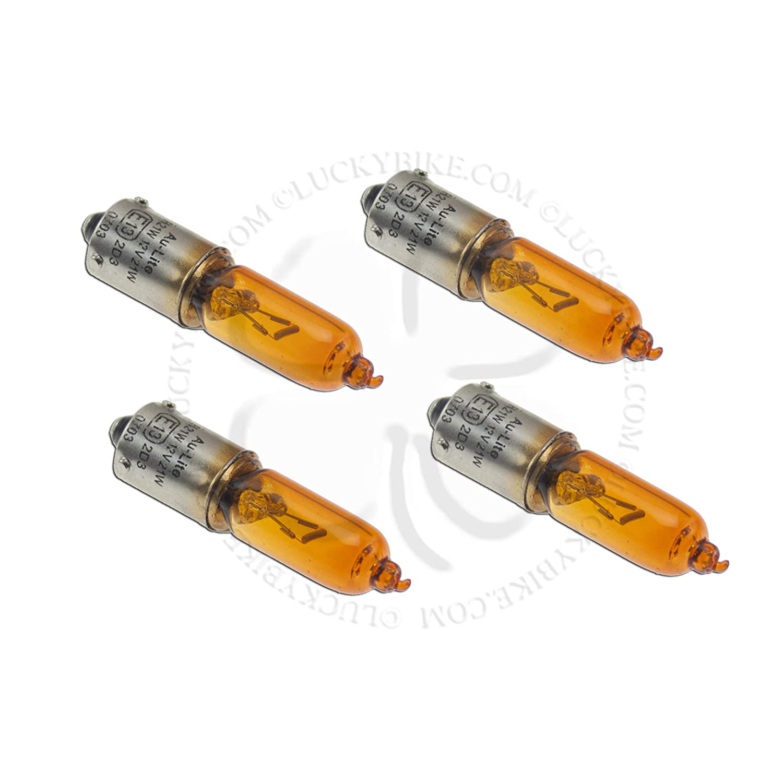 4x Light Bulb Amber Turn Signal Blinker Single Filament Lamp BAY9S 21W