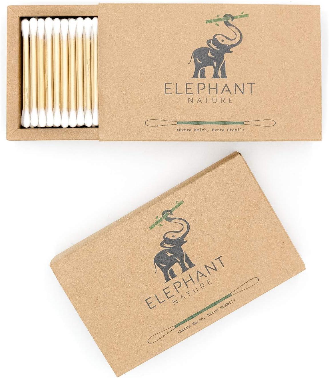 nachhaltig Biobaumwolle 400 St/ück Ohrenst/äbchen Vegan Plastikfrei ELEPHANT NATURE Wattest/äbchen aus Bambus kompostierbar