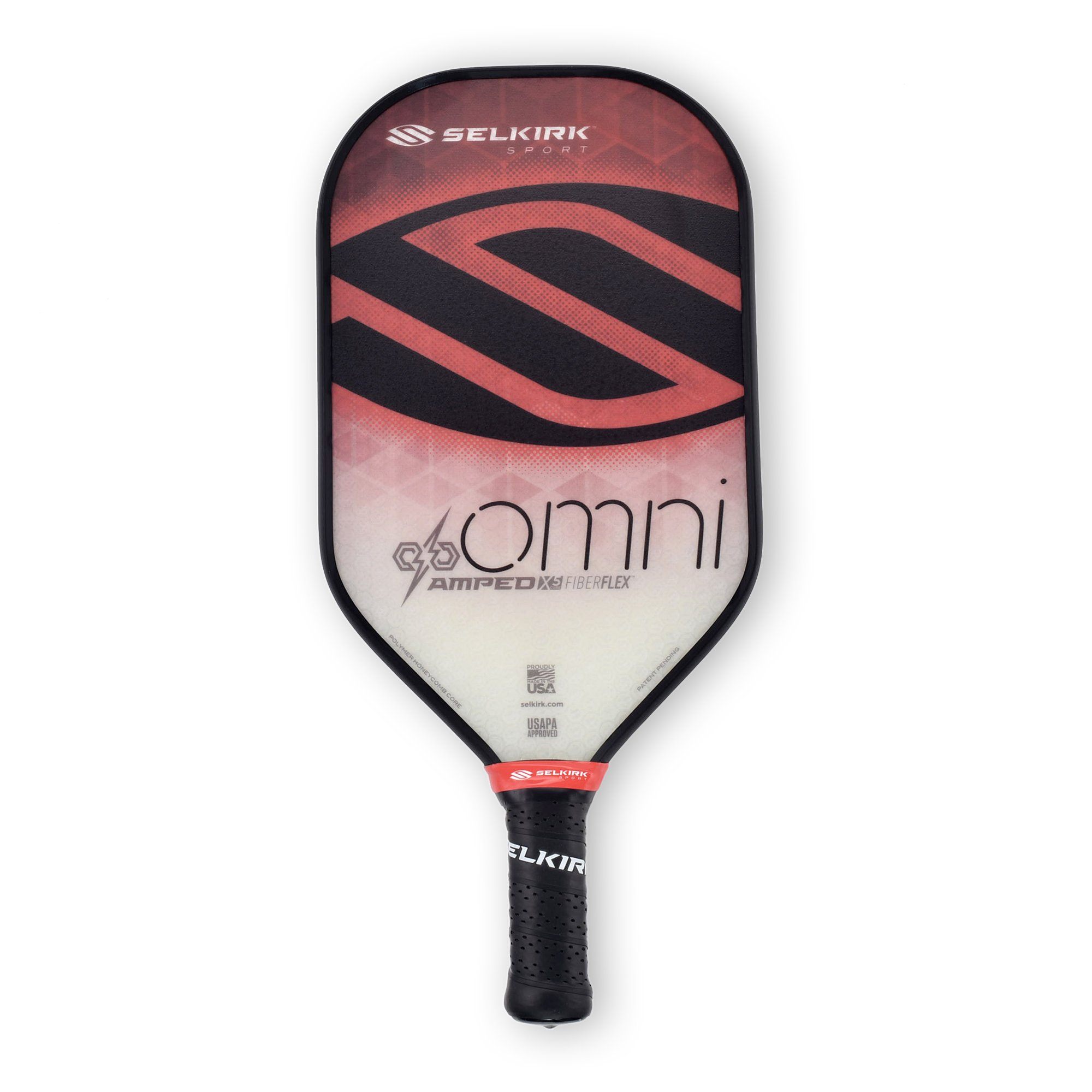 Selkirk Amped Pickleball Paddle - USAPA Approved - X5 Polypropylene Core - FiberFlex Fiberglass Face - 5 Sizes: Epic, S2, Omni, Maxima, and INVIKTA (Omni Midweight - Ruby Red) by Selkirk Sport