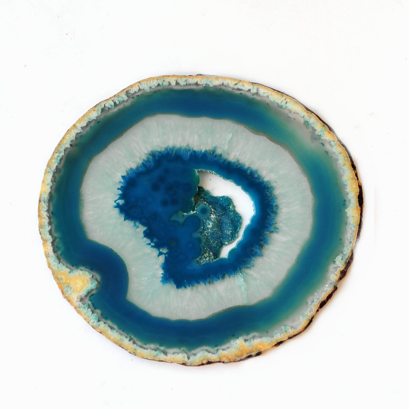Amazon.com: Natural Sliced Dyed Agate Coaster with Rubber Bumper Set of 4 (Q.1  Teal, 3.5-4