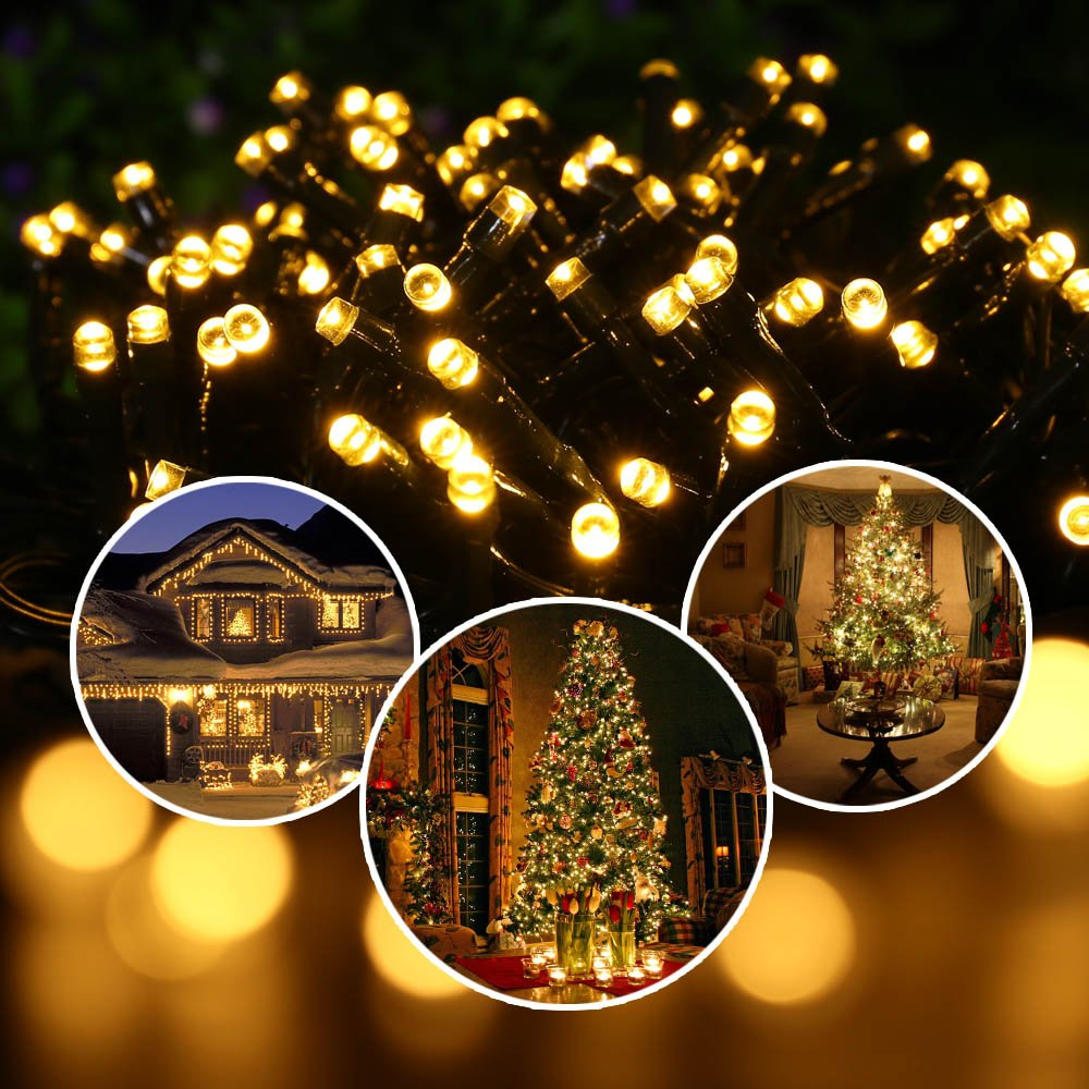 Icicle Solar Christmas String Lights 73 Ft 200 LED Waterproof  - Christmas Decoration Lights For Outdoors