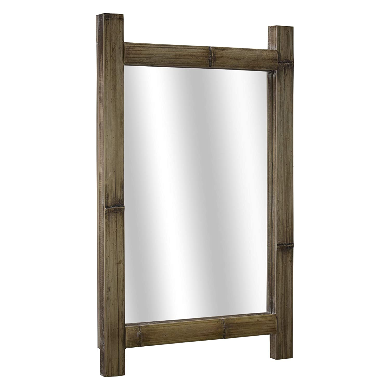 Crystal Art Rustic Bamboo Wood Hanging Wall Vanity Accent Mirror 16.25 L x 26 H Brown