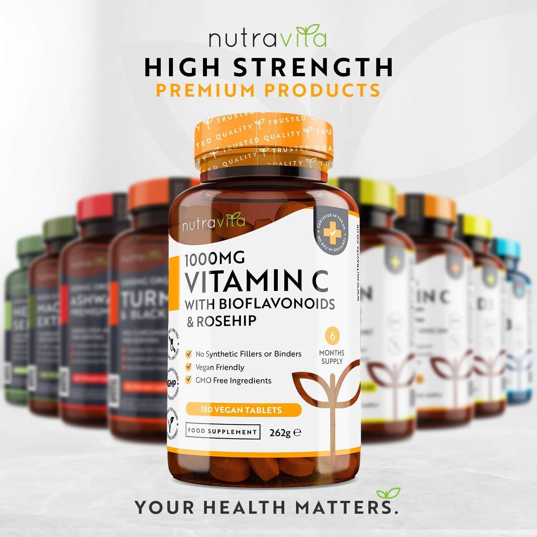 Vitamina C de 1000 mg con Bioflavonoides y Rosa Mosqueta económico