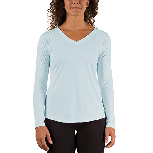 7d7fdab30ee Vapor Apparel Women's V-Neck UPF 50+ Sun Protection Performance Long Sleeve  T-Shirt