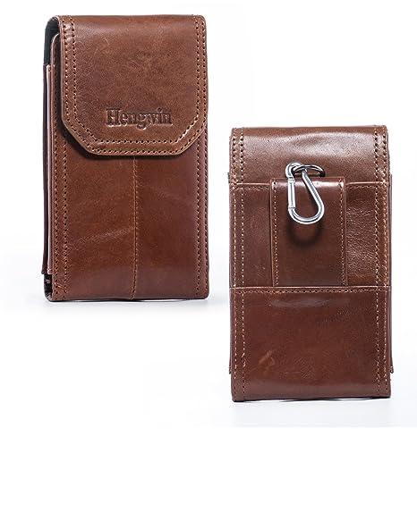 8b5eab0e6e60 Hengwin Belt Loop Holster Pouch iPhone 6s Plus Leather Vertical Holster  Case iPhone Xs Max 8 7 Plus Belt Clip Smart Phone Pouch Sleeve Men Waist  Bag ...