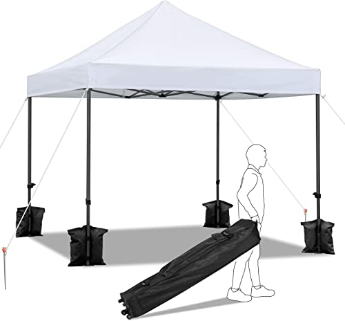 YAHEETECH 10x10ft Outdoor Folding Instant Pop Up Canopy Tent Wedding Party Shelter w Wheeled Carrying Bag and Sand Bag