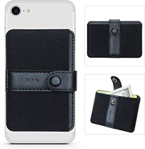 Phone Card Holder Ultra-Slim Self Adhesive Stick-on Credit Card Wallet, Cell Phone Wallet with Pocket for Credit Card, ID, Business Card - iPhone, Android and Most Smartphones (Horizontal Black)