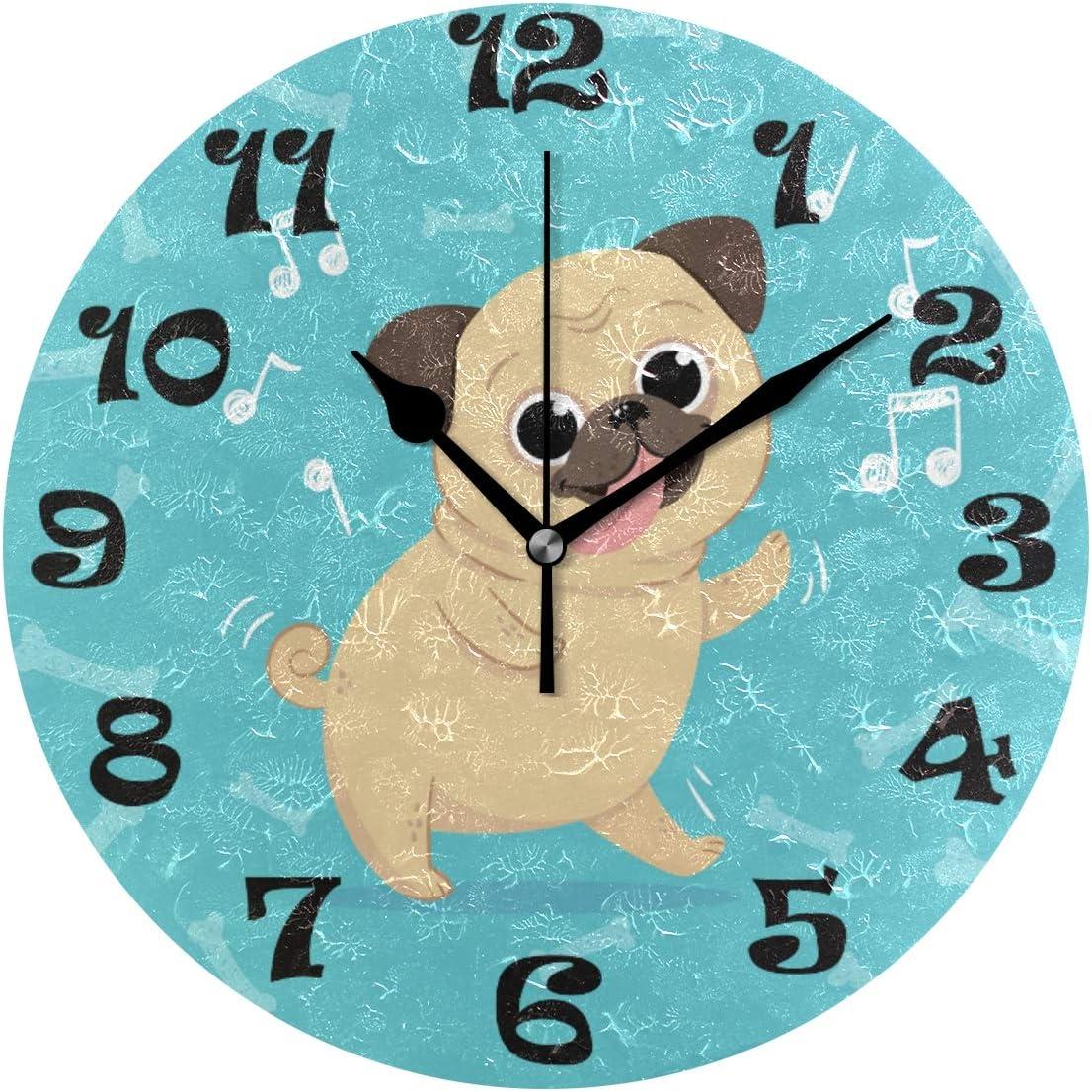 reloj de pared de pug