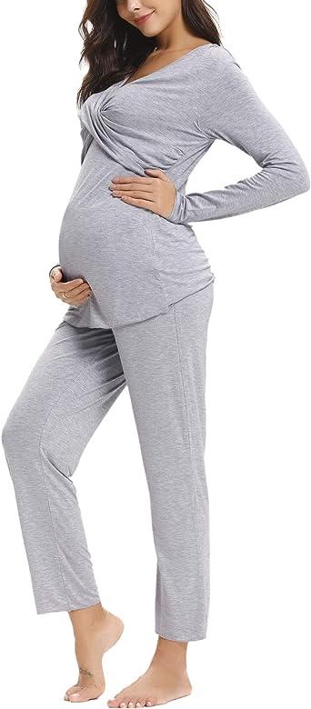 Aibrou Pijama Lactancia Invierno de Manga Larga Pijamas Premamá Embarazadas Algodón Conjunto de Maternidad para Mujer: Amazon.es: Ropa y accesorios