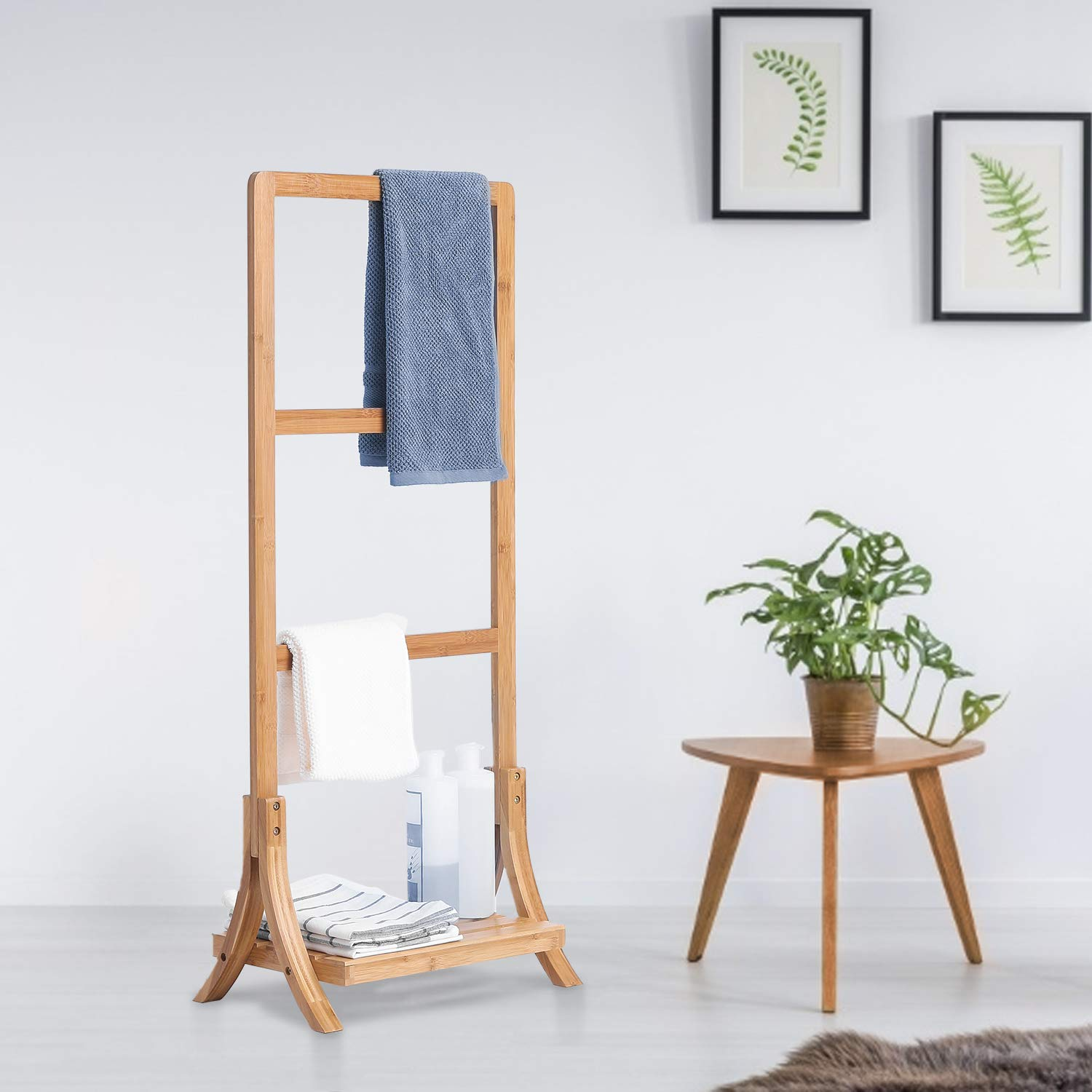Greenvelly Towel Rack Stand Bamboo Freestanding 3-Bar Hand Towel Drying Rack for Bathroom with Shelf