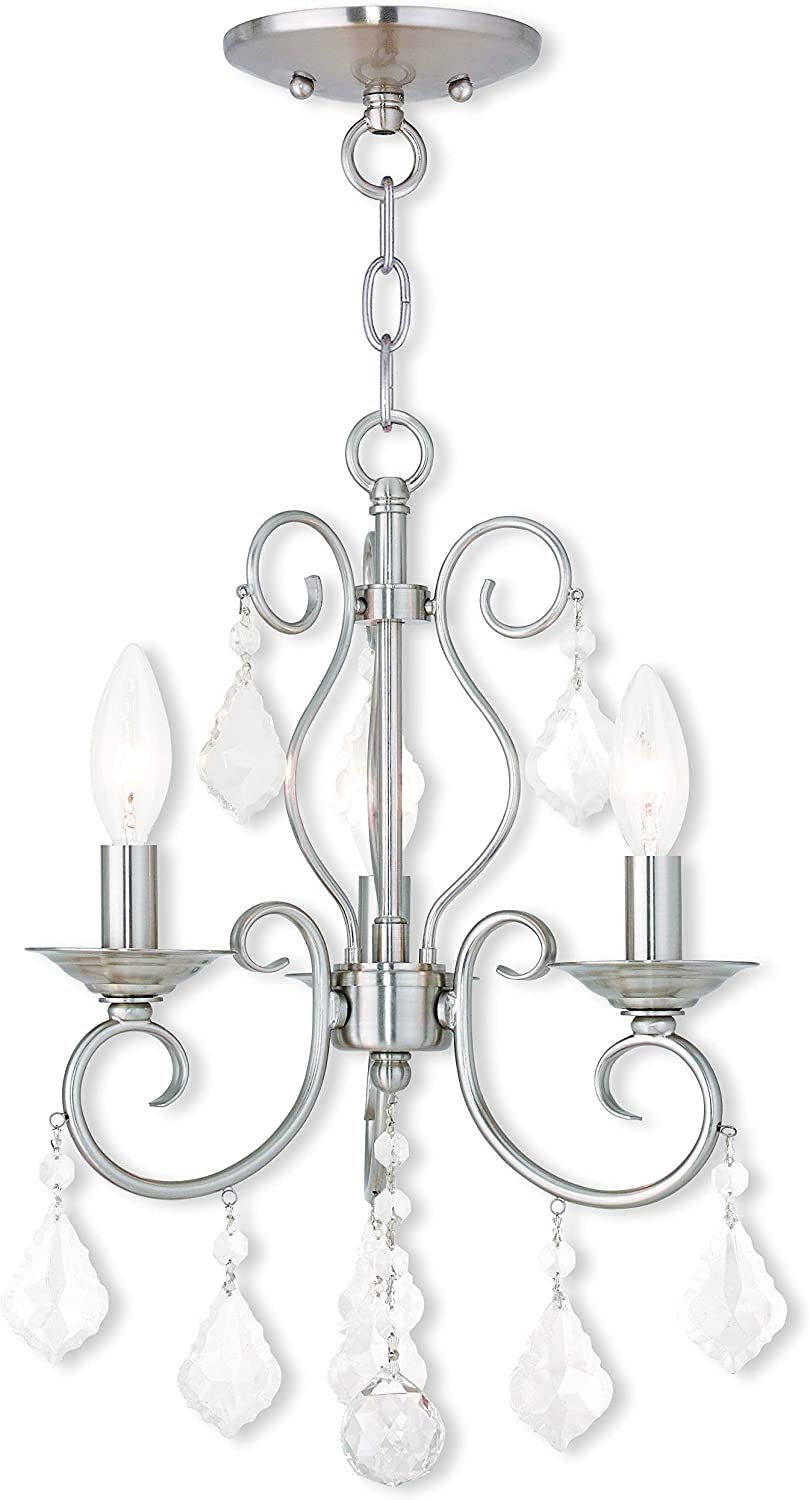Livex Lighting 50763-91 Brushed Nickel Semi-Flush Mount mit Clear Crystal Accents