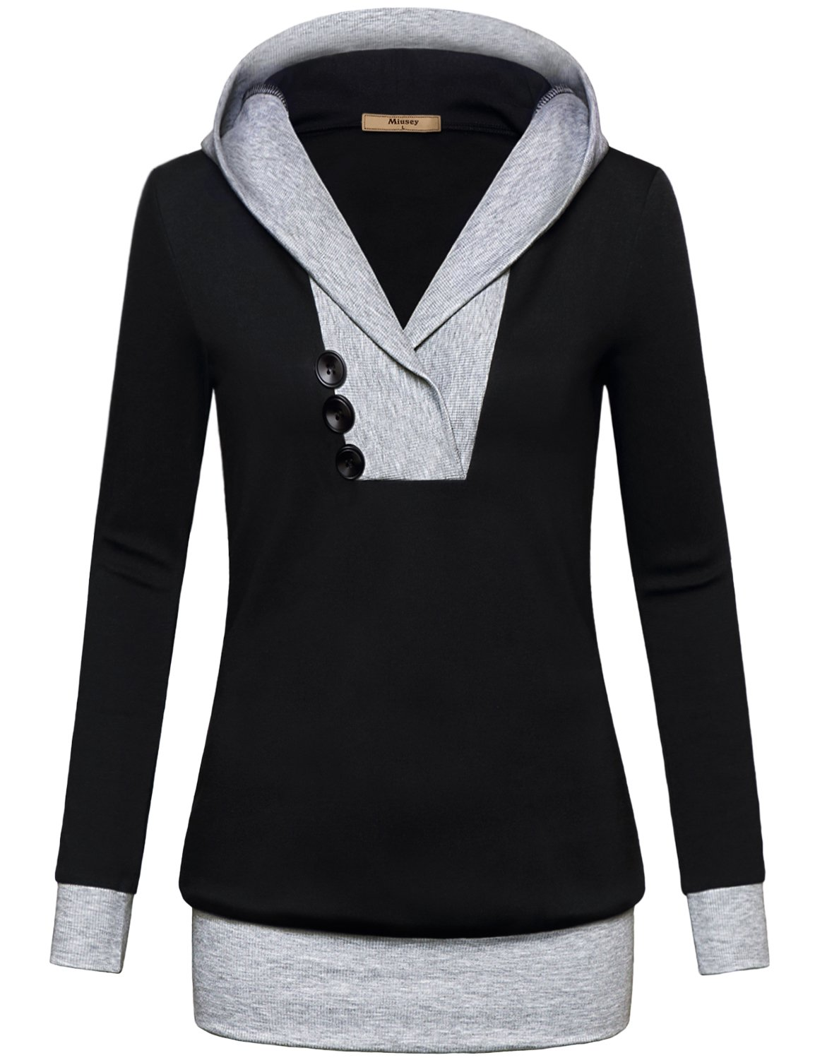 Miusey Tunic Hoodie, Women Long Sleeve Pullover Hit Color Kangaroo Pocket Top Hoodie Sweater T-Shirt Small Black