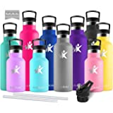 KollyKolla Vacuum Insulated Water Bottle Metal Water Bottles with Straw & Filter Hot & Cold Drinks Bottle Stainless Steel Thermoflask Leakproof Kids for Gym,Cycling,Football,350ml/500ml/600ml/750ml