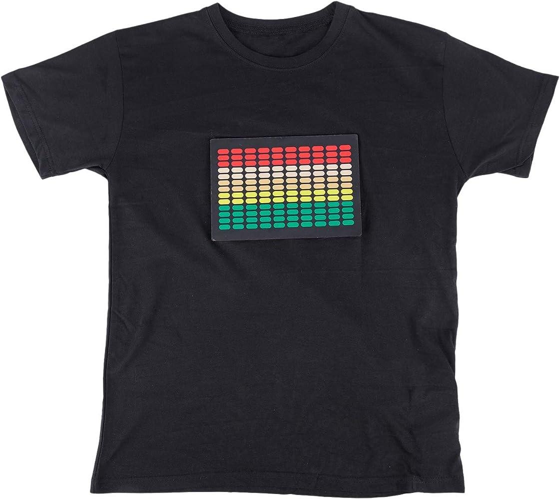 Suading Camiseta Led Activido de Sonido para Hombre Ecualizador de Disco Iluminar Brillante Camiseta Led de Manga Corta L: Amazon.es: Ropa y accesorios