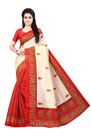 SVB Sarees Women's Silk Saree With Blouse (oofs-30 _Red & White_ Free Size)