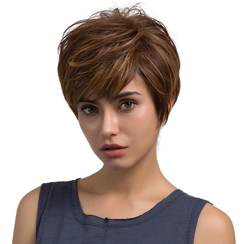 GreatFun New Natural Light Brown Straight Short Hair Wigs Short Women's Fashion Wig